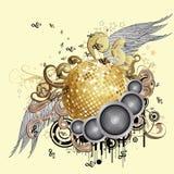 Gouden discobal met vleugels Stock Foto's