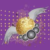 Gouden discobal met vleugels Stock Afbeeldingen