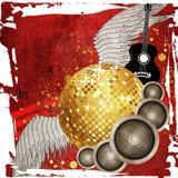 Gouden discobal op rode achtergrond Royalty-vrije Stock Foto