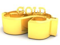 Gouden Dollar en het Gouden woord van letters voorzien Royalty-vrije Stock Afbeeldingen