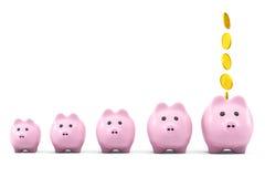 Gouden dollarmuntstuk die in een roze spaarvarken vallen Stock Foto's