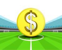 Gouden Dollarmuntstuk in het middenveld van de vector van het voetbalstadion Stock Afbeelding