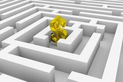 Gouden dollarteken in het centrum van een labyrint Stock Afbeelding