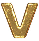 Gouden doopvont. Brief V. stock illustratie