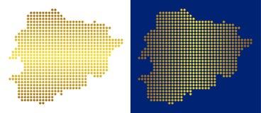 Gouden Dot Andorra Map vector illustratie