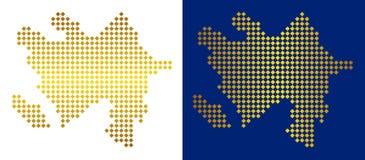 Gouden Dot Azerbaijan Map royalty-vrije illustratie