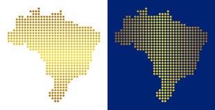 Gouden Dot Brazil Map royalty-vrije illustratie