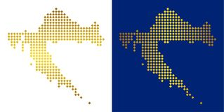 Gouden Dot Croatia Map vector illustratie