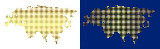 Gouden Dot Eurasia Map vector illustratie