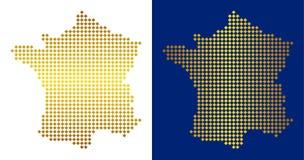 Gouden Dot France Map royalty-vrije illustratie