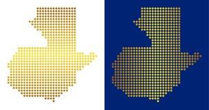 Gouden Dot Guatemala Map royalty-vrije illustratie