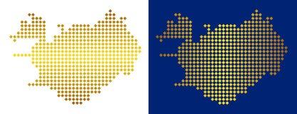 Gouden Dot Iceland Map vector illustratie