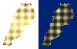 Gouden Dot Lebanon Map royalty-vrije illustratie
