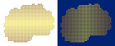 Gouden Dot Makedonia Map vector illustratie