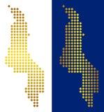 Gouden Dot Malawi Map royalty-vrije illustratie