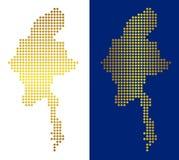 Gouden Dot Myanmar Map vector illustratie