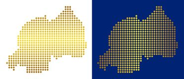 Gouden Dot Rwanda Map royalty-vrije illustratie