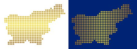 Gouden Dot Slovenia Map stock illustratie