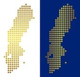 Gouden Dot Sweden Map stock illustratie