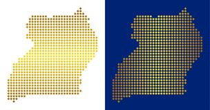 Gouden Dot Uganda Map royalty-vrije illustratie