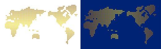Gouden Dot World Map royalty-vrije illustratie