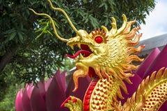 Gouden draak in oosterse stijl stock fotografie