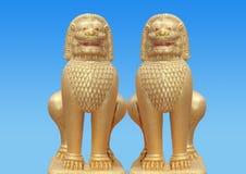 2 gouden draakeenhoorn Stock Afbeelding