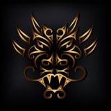 Gouden draakhoofd op zwarte achtergrond royalty-vrije illustratie