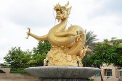 Gouden draakstandbeeld, Phuket Stock Fotografie