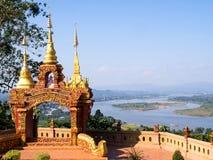 Gouden driehoeksgezichtspunt van Thailand Stock Foto