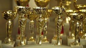 Gouden drinkbekers Kampioensachivements stock video