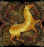 Gouden eenhoorn, bloemen etnische gevormde achtergrond vector illustratie