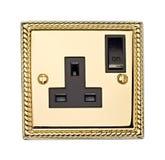 Gouden Elektrische Contactdoos Royalty-vrije Stock Foto's