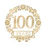 Gouden embleem van de honderdste jarenverjaardag in uitstekende stijl royalty-vrije illustratie