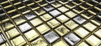 Gouden (en één of ander zilver) kubussen Royalty-vrije Stock Fotografie