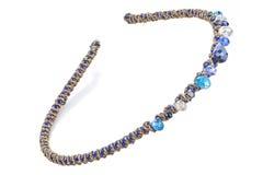 Gouden en blauwe hoofd geïsoleerde band met blauwe halfedelstenen, Royalty-vrije Stock Afbeeldingen