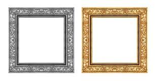 Gouden en grijs die kader op witte achtergrond, het knippen weg wordt geïsoleerd Stock Foto's