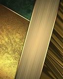 Gouden en groene achtergrond met gouden lint Element voor ontwerp Malplaatje voor ontwerp exemplaarruimte voor advertentiebrochur Royalty-vrije Stock Foto's