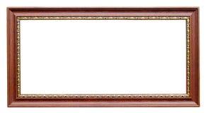 Gouden en houten frame op wit stock afbeelding