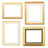 Gouden en houten kaderinzameling Stock Foto's