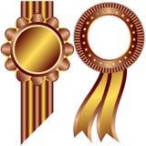 Gouden en koffie decoratieve frames (vector) Royalty-vrije Stock Foto's