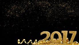 Gouden en magisch nieuw jaar Stock Afbeelding
