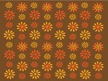 Gouden en oranje retro bloemen op bruine achtergrond royalty-vrije illustratie