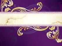 Gouden en purpere horizontale Victoriaanse banner Royalty-vrije Stock Fotografie