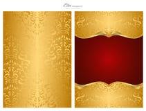 Gouden en rode abstracte achtergrond, voorzijde en rug Royalty-vrije Stock Foto