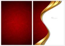 Gouden en rode abstracte achtergrond, voorzijde en rug Stock Afbeeldingen