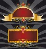 Gouden en rode banners Stock Foto's