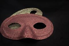 Gouden en rode Carnaval-maskers stock afbeeldingen