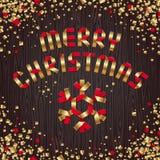 Gouden en rood de groetontwerp van Kerstmis Stock Afbeeldingen