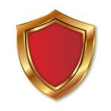 Gouden en rood schild Stock Afbeeldingen